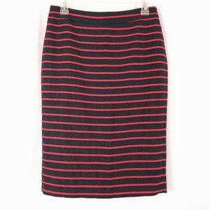 Ann Taylor Red Black Striped Pencil Skirt Zip Sz 2